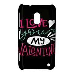 I Love You My Valentine / Our Two Hearts Pattern (black) Nokia Lumia 620 by FashionFling