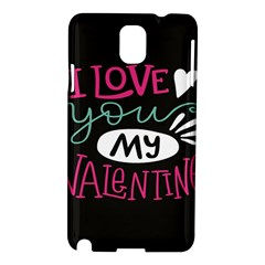 I Love You My Valentine / Our Two Hearts Pattern (black) Samsung Galaxy Note 3 N9005 Hardshell Case by FashionFling