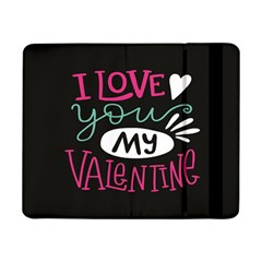 I Love You My Valentine / Our Two Hearts Pattern (black) Samsung Galaxy Tab Pro 8 4  Flip Case by FashionFling