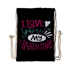 I Love You My Valentine / Our Two Hearts Pattern (black) Drawstring Bag (small) by FashionFling