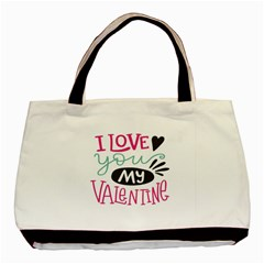 I Love You My Valentine / Our Two Hearts Pattern (white) Basic Tote Bag by FashionFling