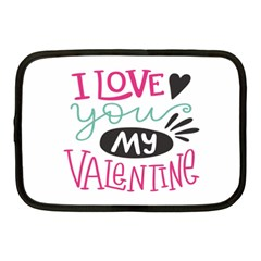 I Love You My Valentine / Our Two Hearts Pattern (white) Netbook Case (medium)  by FashionFling