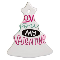 I Love You My Valentine / Our Two Hearts Pattern (white) Christmas Tree Ornament (two Sides) by FashionFling