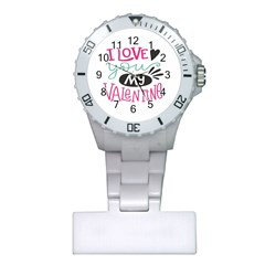I Love You My Valentine / Our Two Hearts Pattern (white) Plastic Nurses Watch by FashionFling