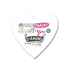 My Every Moment Spent With You Is Diamond To Me / Diamonds Hearts Lips Pattern (white) Heart Magnet by FashionFling