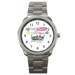My Every Moment Spent With You Is Diamond To Me / Diamonds Hearts Lips Pattern (white) Sport Metal Watch by FashionFling
