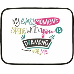 My Every Moment Spent With You Is Diamond To Me / Diamonds Hearts Lips Pattern (white) Fleece Blanket (mini) by FashionFling