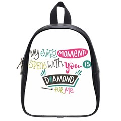 My Every Moment Spent With You Is Diamond To Me / Diamonds Hearts Lips Pattern (white) School Bags (small)  by FashionFling