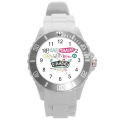 My Every Moment Spent With You Is Diamond To Me / Diamonds Hearts Lips Pattern (white) Round Plastic Sport Watch (l) by FashionFling