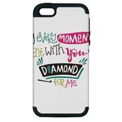 My Every Moment Spent With You Is Diamond To Me / Diamonds Hearts Lips Pattern (white) Apple Iphone 5 Hardshell Case (pc+silicone) by FashionFling