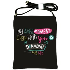 My Every Moment Spent With You Is Diamond To Me / Diamonds Hearts Lips Pattern (black) Shoulder Sling Bags by FashionFling