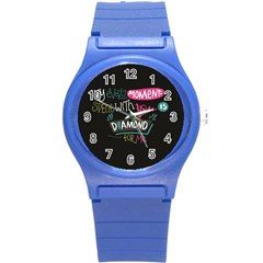 My Every Moment Spent With You Is Diamond To Me / Diamonds Hearts Lips Pattern (black) Round Plastic Sport Watch (s) by FashionFling