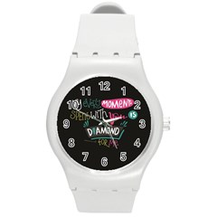 My Every Moment Spent With You Is Diamond To Me / Diamonds Hearts Lips Pattern (black) Round Plastic Sport Watch (m) by FashionFling