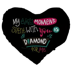 My Every Moment Spent With You Is Diamond To Me / Diamonds Hearts Lips Pattern (black) Large 19  Premium Flano Heart Shape Cushions by FashionFling