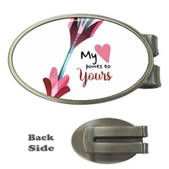My Heart Points To Yours / Pink And Blue Cupid s Arrows (white) Money Clips (oval)  by FashionFling