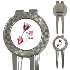 My Heart Points To Yours / Pink And Blue Cupid s Arrows (white) 3 In 1 Golf Divots by FashionFling