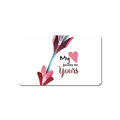 My Heart Points To Yours / Pink And Blue Cupid s Arrows (white) Magnet (name Card) by FashionFling