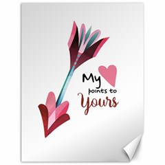 My Heart Points To Yours / Pink And Blue Cupid s Arrows (white) Canvas 12  X 16   by FashionFling