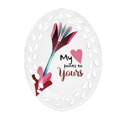 My Heart Points To Yours / Pink And Blue Cupid s Arrows (white) Oval Filigree Ornament (two Sides) by FashionFling