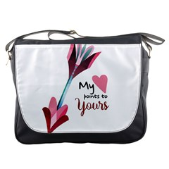 My Heart Points To Yours / Pink And Blue Cupid s Arrows (white) Messenger Bags by FashionFling