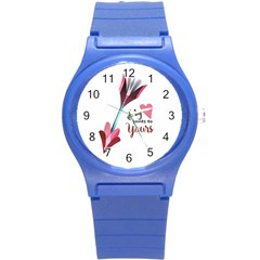 My Heart Points To Yours / Pink And Blue Cupid s Arrows (white) Round Plastic Sport Watch (s) by FashionFling