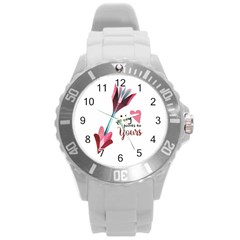My Heart Points To Yours / Pink And Blue Cupid s Arrows (white) Round Plastic Sport Watch (l) by FashionFling