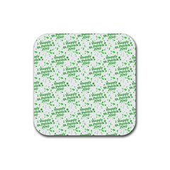 Saint Patrick Motif Pattern Rubber Coaster (square)  by dflcprints