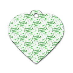 Saint Patrick Motif Pattern Dog Tag Heart (One Side)
