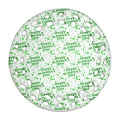 Saint Patrick Motif Pattern Round Filigree Ornament (two Sides) by dflcprints