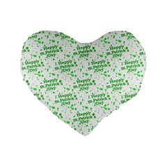 Saint Patrick Motif Pattern Standard 16  Premium Heart Shape Cushions by dflcprints