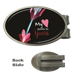 My Heart Points To Yours / Pink And Blue Cupid s Arrows (black) Money Clips (oval)  by FashionFling