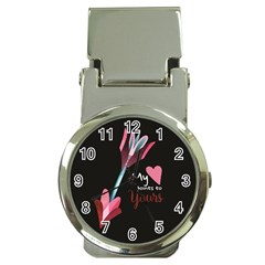 My Heart Points To Yours / Pink And Blue Cupid s Arrows (black) Money Clip Watches by FashionFling