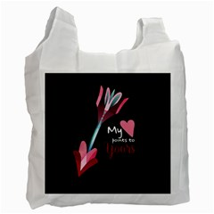 My Heart Points To Yours / Pink And Blue Cupid s Arrows (black) Recycle Bag (one Side) by FashionFling