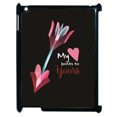 My Heart Points To Yours / Pink And Blue Cupid s Arrows (black) Apple Ipad 2 Case (black) by FashionFling