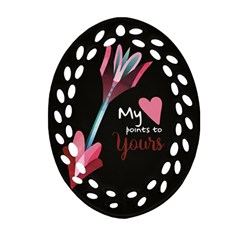 My Heart Points To Yours / Pink And Blue Cupid s Arrows (black) Oval Filigree Ornament (two Sides) by FashionFling