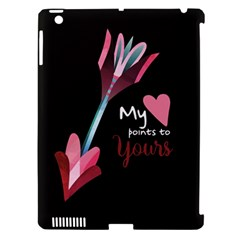 My Heart Points To Yours / Pink And Blue Cupid s Arrows (black) Apple Ipad 3/4 Hardshell Case (compatible With Smart Cover) by FashionFling