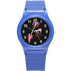 My Heart Points To Yours / Pink And Blue Cupid s Arrows (black) Round Plastic Sport Watch (s) by FashionFling
