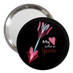 My Heart Points To Yours / Pink And Blue Cupid s Arrows (black) 3  Handbag Mirrors by FashionFling