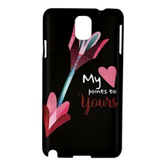 My Heart Points To Yours / Pink And Blue Cupid s Arrows (black) Samsung Galaxy Note 3 N9005 Hardshell Case by FashionFling