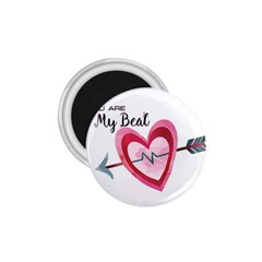 You Are My Beat / Pink And Teal Hearts Pattern (white)  1 75  Magnets by FashionFling