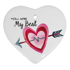 You Are My Beat / Pink And Teal Hearts Pattern (white)  Ornament (heart) by FashionFling