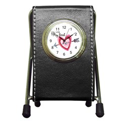 You Are My Beat / Pink And Teal Hearts Pattern (white)  Pen Holder Desk Clocks by FashionFling