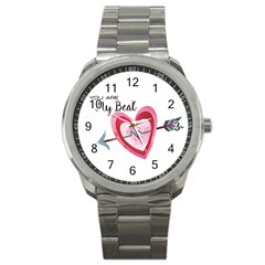 You Are My Beat / Pink And Teal Hearts Pattern (white)  Sport Metal Watch by FashionFling