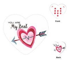 You Are My Beat / Pink And Teal Hearts Pattern (white)  Playing Cards (heart)  by FashionFling