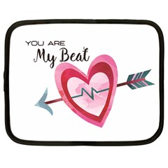 You Are My Beat / Pink And Teal Hearts Pattern (white)  Netbook Case (large) by FashionFling