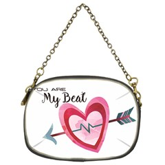 You Are My Beat / Pink And Teal Hearts Pattern (white)  Chain Purses (two Sides)  by FashionFling