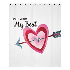 You Are My Beat / Pink And Teal Hearts Pattern (white)  Shower Curtain 60  X 72  (medium)  by FashionFling