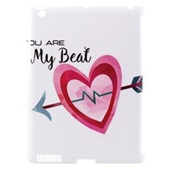 You Are My Beat / Pink And Teal Hearts Pattern (white)  Apple Ipad 3/4 Hardshell Case (compatible With Smart Cover) by FashionFling