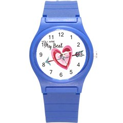 You Are My Beat / Pink And Teal Hearts Pattern (white)  Round Plastic Sport Watch (s) by FashionFling