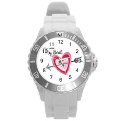 You Are My Beat / Pink And Teal Hearts Pattern (white)  Round Plastic Sport Watch (l) by FashionFling